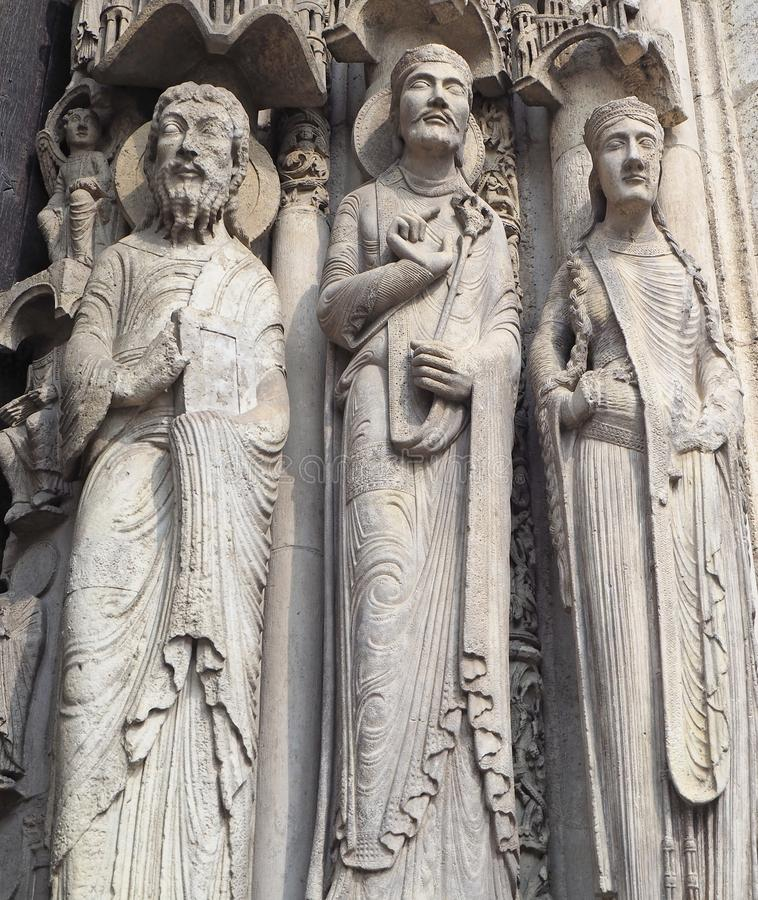 Statues of Catholic Saints at Cathedrale Notre Dame de Chartres, a medieval old Catholic cathedral in Chartres, France.  royalty free stock image