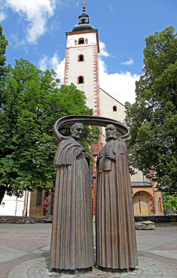 Statues in city Banska Bystrica stock images