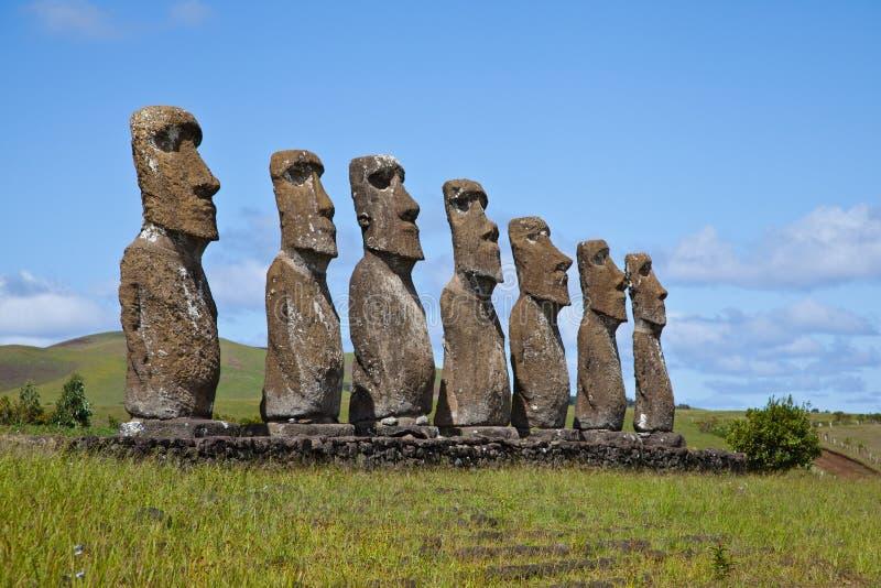 Statues d'île de Pâques photos libres de droits