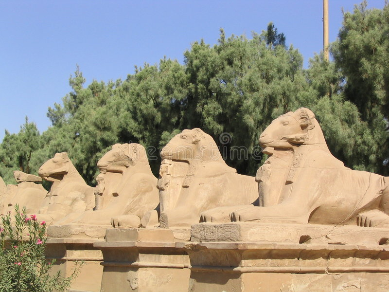 Statues d'entrée dans le temple de Karnak (Egypte) images libres de droits