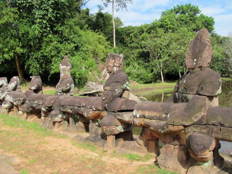 Statues dans Angkor Vat, Cambodge, Siem Reap images stock