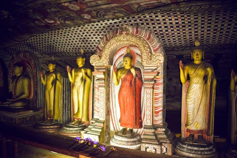 Statues de Bouddha dans le temple de Dambulla Sri Lanka images libres de droits