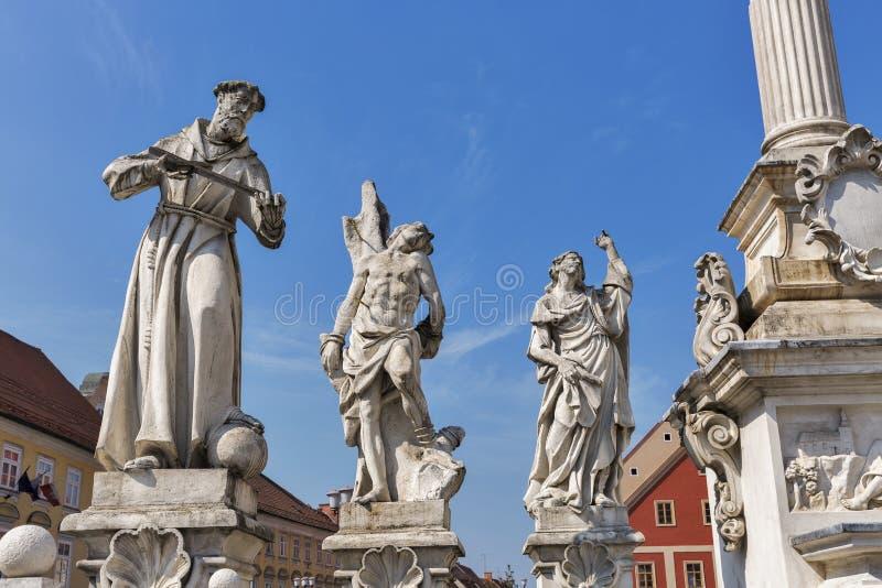 Statues de colonne de peste à Maribor, Slovénie photos stock