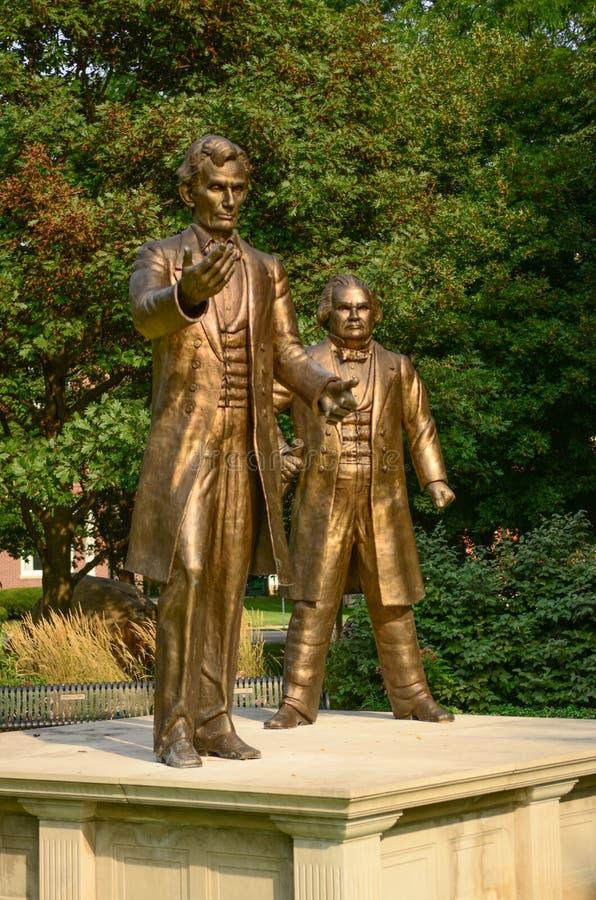 Statues de discussion de Lincoln Douglas photos stock
