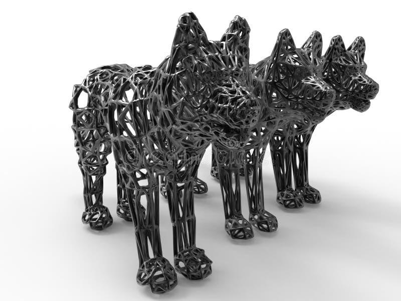 Statues de maille de loup illustration de vecteur