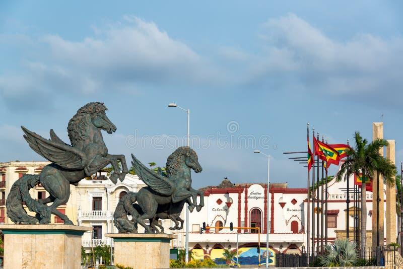 Statues de Pegasus à Carthagène image libre de droits