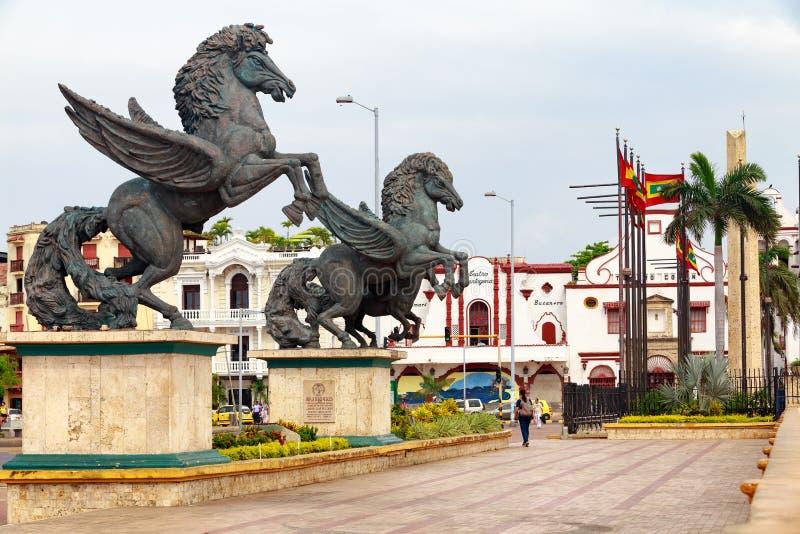 Statues de Pegasus à Carthagène photos stock