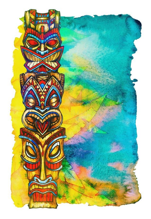 Statues de Tiki peintes dans l'aquarelle sur le fond d'aquarelle sous forme de végétation tropicale illustration libre de droits