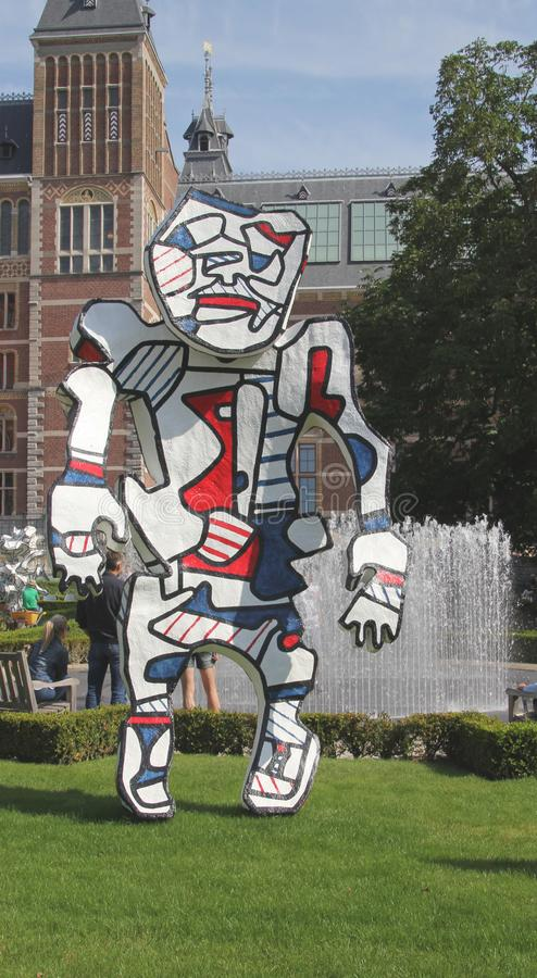 Statues Dubuffet in the garden of the Rijksmuseum stock photography