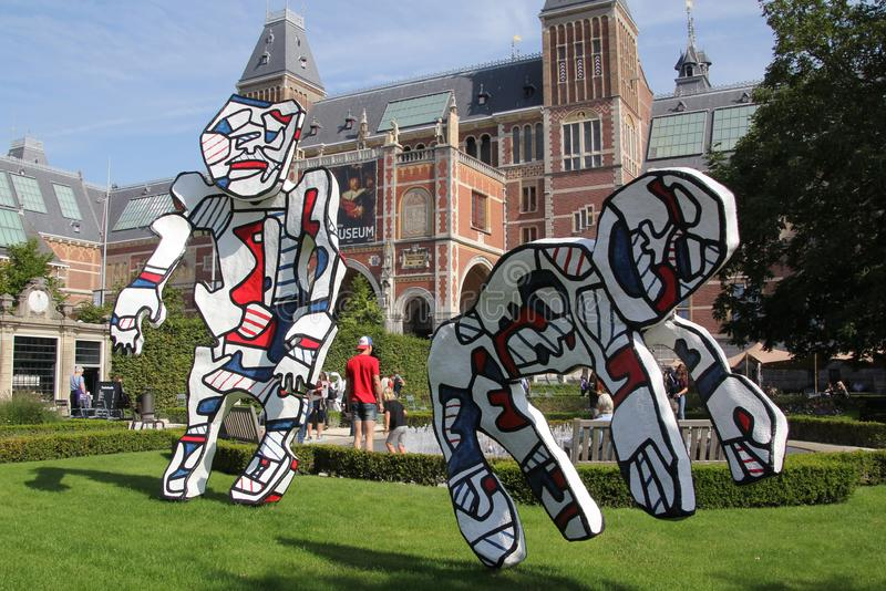 Statues Dubuffet in the garden of the Rijksmuseum royalty free stock photos
