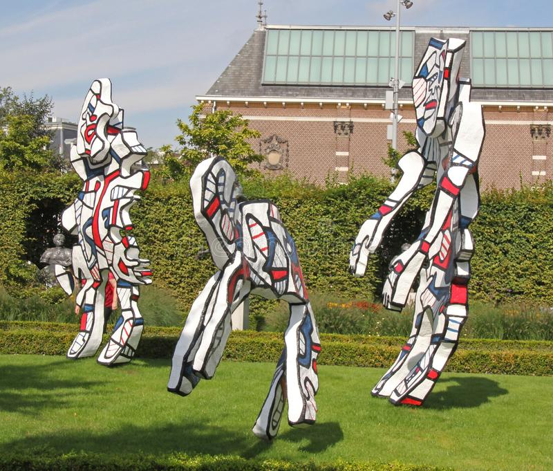 Statues Dubuffet in the garden of the Rijksmuseum royalty free stock photography
