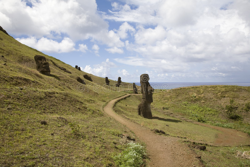Statues at easter island royalty free stock image