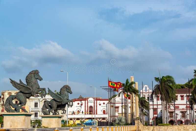 Statues et théâtre de Pegasus image libre de droits