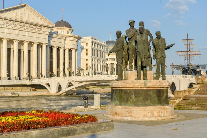 Statues and flowers at Macedonia Square,Skopje,Macedonia stock photography