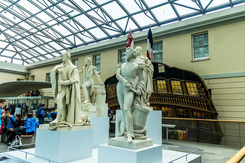 Statues of Great Historical British Captains in National Maritime Museum, London, England. LONDON, UK - June 9, 2015: Statues of Great Historical British stock photos