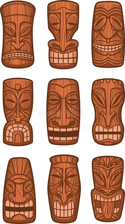 Statues hawaïennes d'un dieu de tiki illustration libre de droits