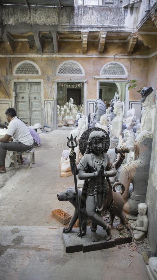 Statues of Hindu God Shiva Bhairav. Crafts and Arts of India. Mu royalty free stock photos