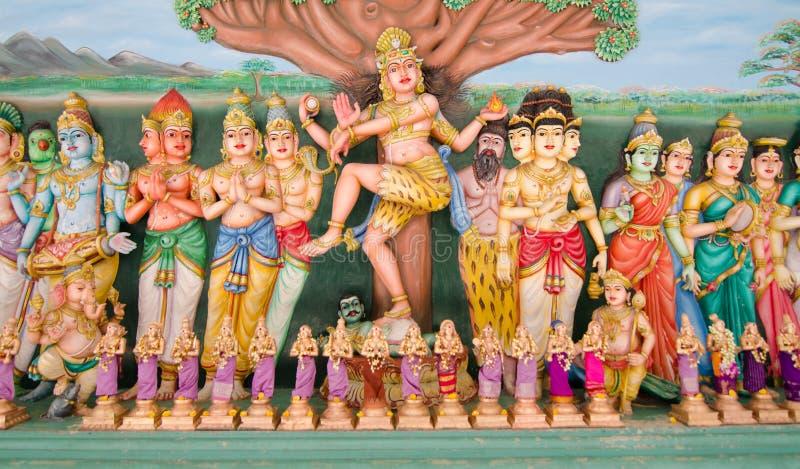 Statues of Hindu God in Sri Mahamariamman Indian Temple stock photo