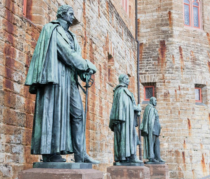 Statues at Hohenzollern Castle Burg Hohenzollern. At the swabian region of Baden-Wurttemberg, Germany stock images