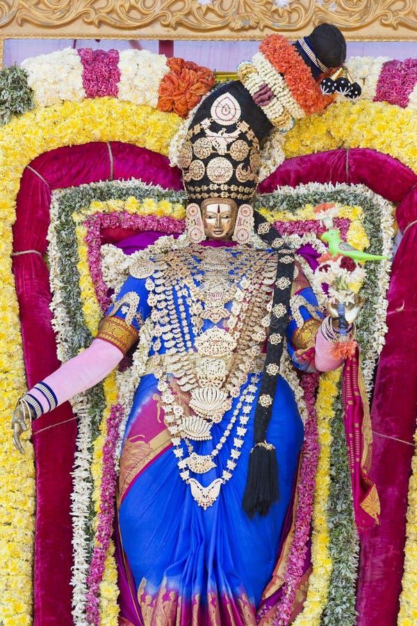 Statues of the Indian gods. Brahma, Vishnu Durga Shiva Ganesha, made with flowers for the the Masi Magam festival. Puduchery, Tamil Nadu, India royalty free stock image