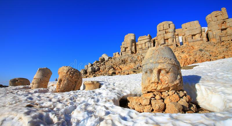 Mount Nemrut. The statues of the Kingdom of Komagene on the Mount Nemrut in the Adiyaman are the focus of the tour. These syatues are on the unesco list stock photos