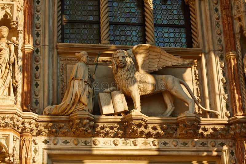 Statues of the leo or lion with wings and book and pope stock photo