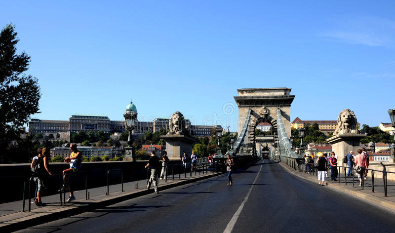 Download Statues Of Lions On The Chain Bridge Editorial Stock Photo - Image: 21495143