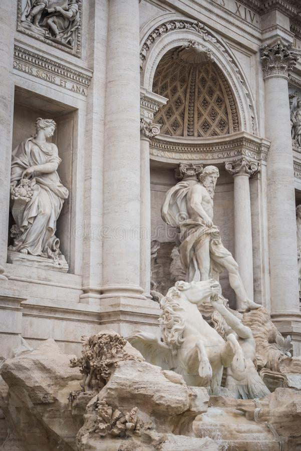 Statues of the majestic Trevi Fountain in Rome. Italy stock photo