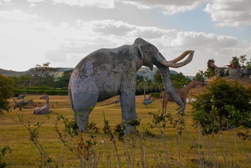 Statues Of Mammoths. Prehistoric animal models, sculptures in the valley Of the national Park in Baconao, Cuba. Statues Of Mammoths. Prehistoric animal models stock photo
