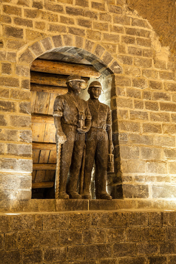 Statues of miners in Wieliczka, Poland. Wieliczka Salt Mine operated continuously since the 13th century. Underground Mine has over 300 corridors and 300 stock images