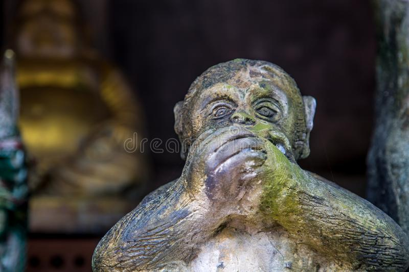 Statues of monkeys. Three monkey,close up of hand small statues with the concept of see no evil, hear no evil and speak no evil royalty free stock image
