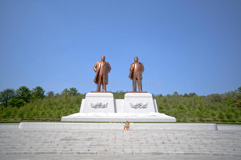 Statues of North Korean leaders Kim Il-sung and Kim Jong-il. Kaesong, DPRK - North Korea. May 03, 2017 royalty free stock images