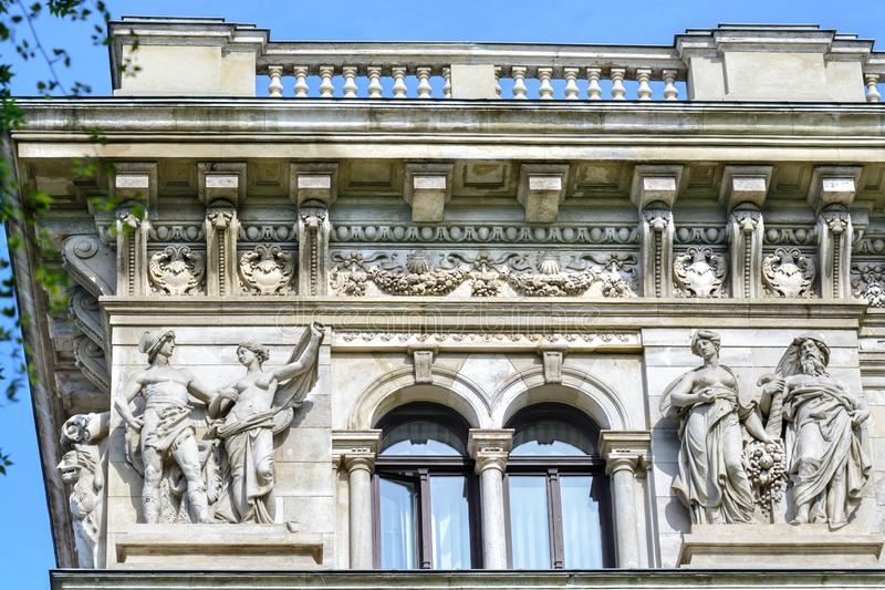 Statues at the Opera House in Budapest. Hungary. Sixteen statues of the great composers of the world. The Budapest Opera is one of. Statues Hungarian State Opera stock photo