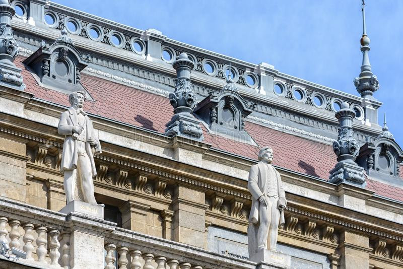 Statues at the Opera House in Budapest. Hungary. Sixteen statues of the great composers of the world. The Budapest Opera is one of. Statues Hungarian State Opera royalty free stock photography