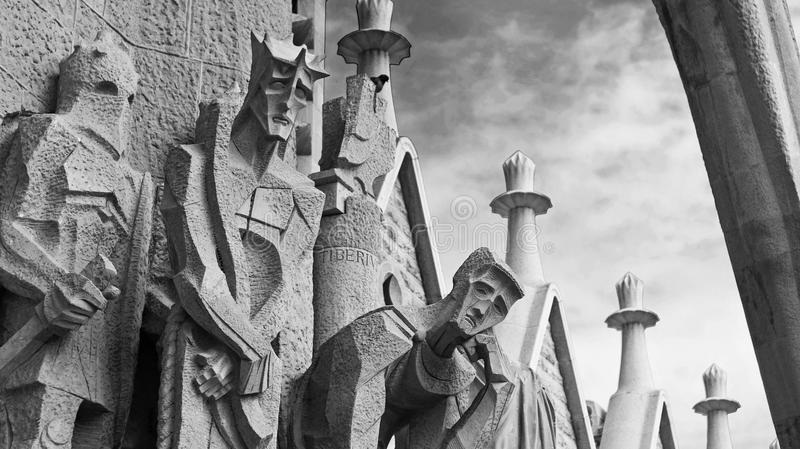 Statues of the passion facade of the Sagrada Familia church. (Antoni Gaudi) Barcelona - Spain stock images