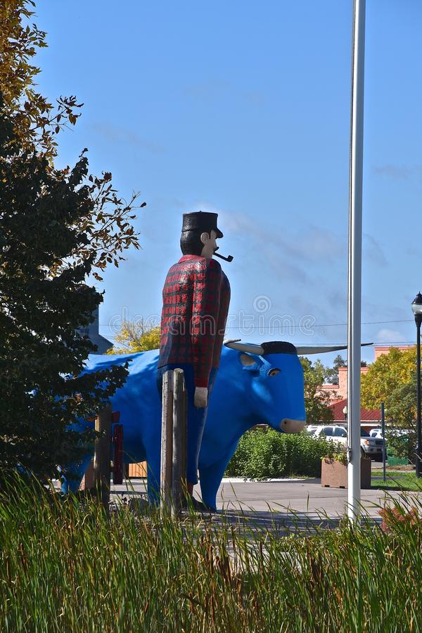 Statues of Paul Bunyan and Babe. BEMIDJI, MINNESOTA, October 1, 2017: The legendary Paul Bunyan side profile of head statute is a tourist attraction run by the royalty free stock photo