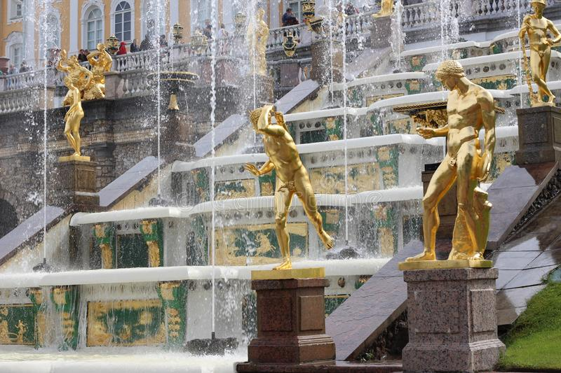 Statues in Peterhof. Statues of Peterhof can not fail to impress. Their Golden glow, perfect shape - it`s wonderful stock photos