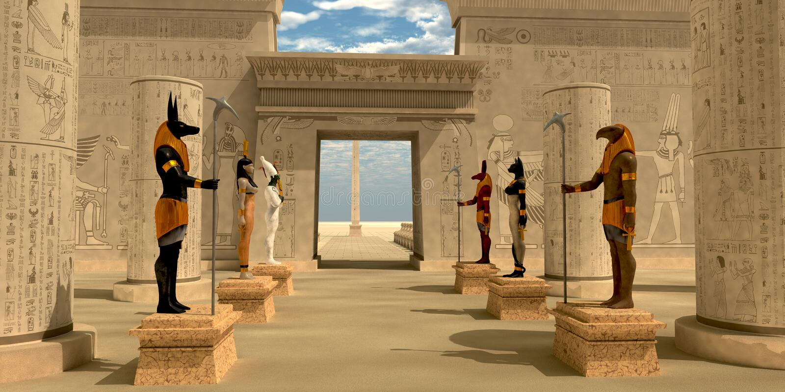 Statues in Pharaoh's Temple stock illustration