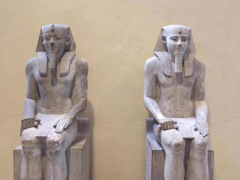 Statues of pharaohs. In Egypt Temple in cairo stock photos