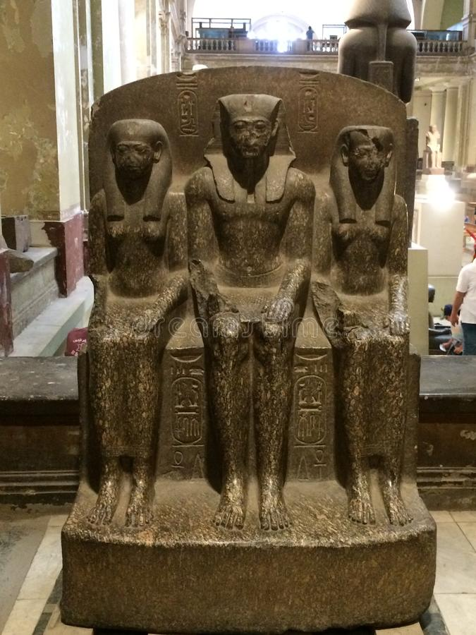 Statues of pharaohs. In Egypt Temple in cairon royalty free stock photo