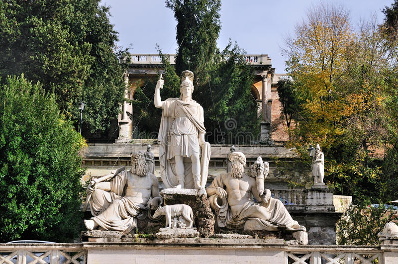 Statues on Piazza del Popolo. Statues on the edge of Piazza del Popolo in Rome, Italy royalty free stock photos