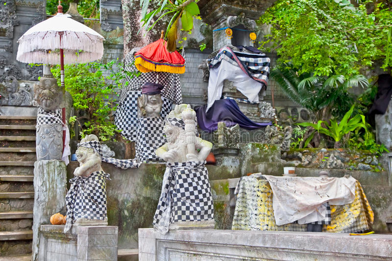 Statues of Pura Batu Bolong, Sengigi, Lombok. Indonesia stock image
