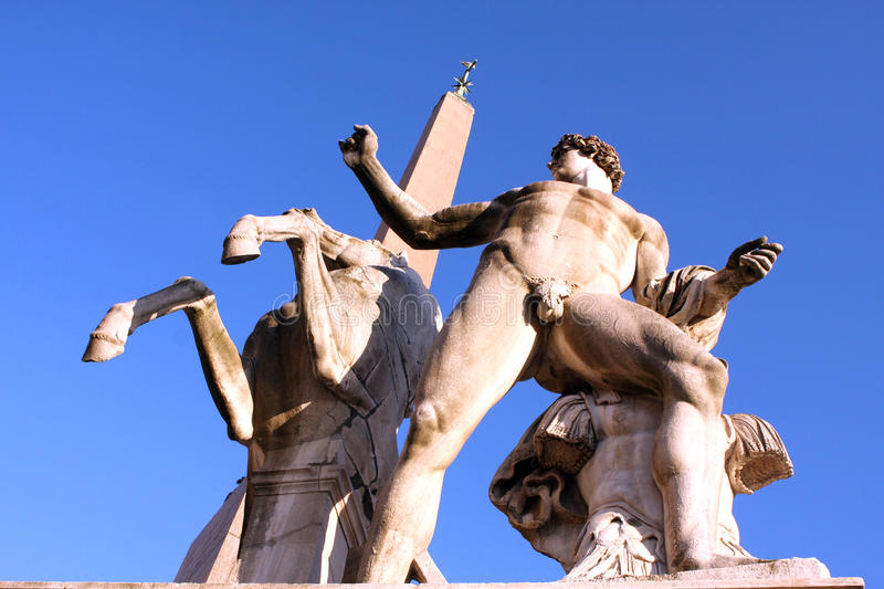 Statues of Quirinal Palace Rome Italy royalty free stock image