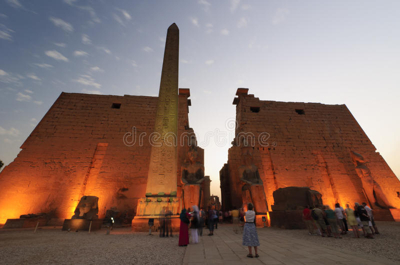 Statues of Ramses II at Luxor Temple. Luxor, Egypt stock photos