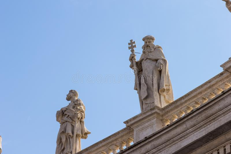 Statues on the roof of the Cathedral of St. Paul royalty free stock image
