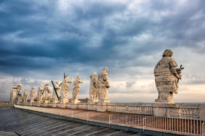 Statues on the Roof stock photos