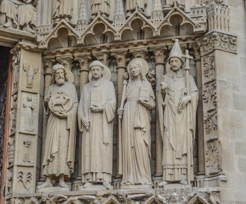 Architecture of Notre-Dame de Paris royalty free stock image