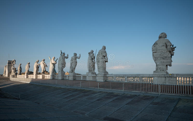 Statues of Saint Peter`s Basilica in Rome stock image