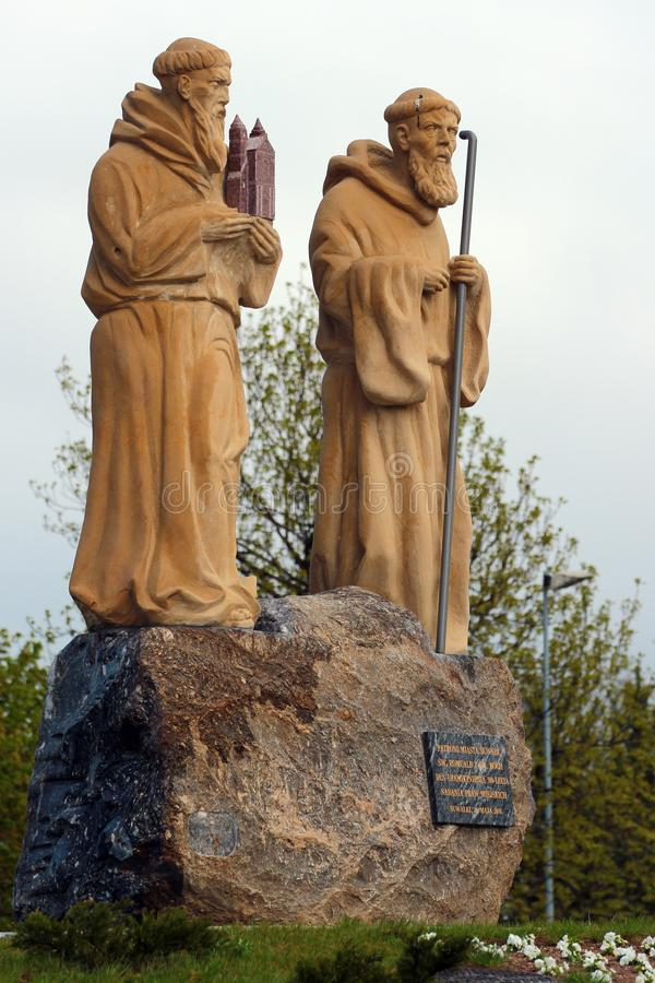 Statues of Saint Roch and Saint Romuald in Suwalki, Poland. Suwalki, Poland - May 3, 2019: Statues of Saint Roch and Saint Romuald, the patrons of Suwalki town royalty free stock photography
