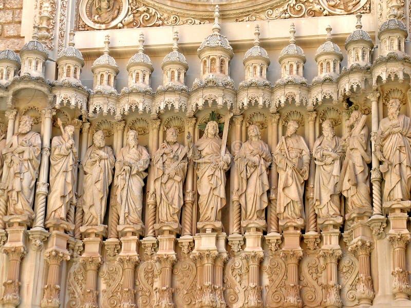 Statues at Santa Maria de Montserrat basilica stock photos